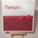 Hand made thank you card in pink
