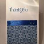 Hand made thank you card in blue