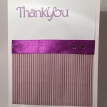 Hand made thank you card in puple